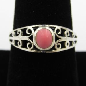 Vintage Size 8 Sterling Pink Inlay Fancy Band Ring